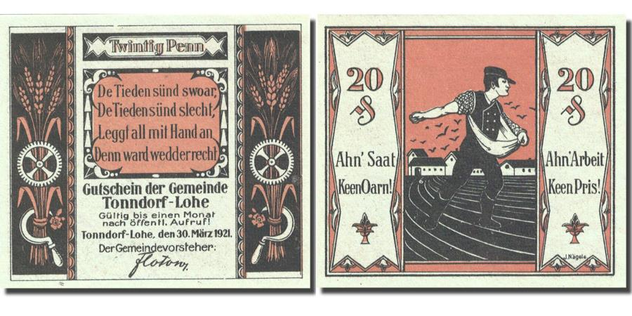 detailed look faf6d a94dc Banknote, Germany, Tonndorf - Lohe, 20 Pfennig, personnage 1921 Mehl 1330.1a
