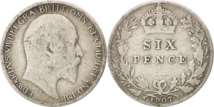 World Coins - GREAT BRITAIN, 6 Pence, 1907, KM #799, , Silver, 19.5, 2.70