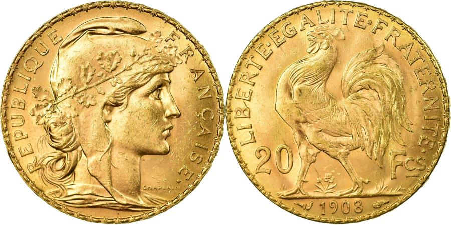 World Coins - Coin, France, Marianne, 20 Francs, 1908, MS(60-62), Gold, KM:857, Gadoury:1064a