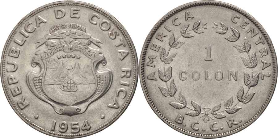 World Coins - Costa Rica, Colon, 1954, , Stainless Steel, KM:186.1