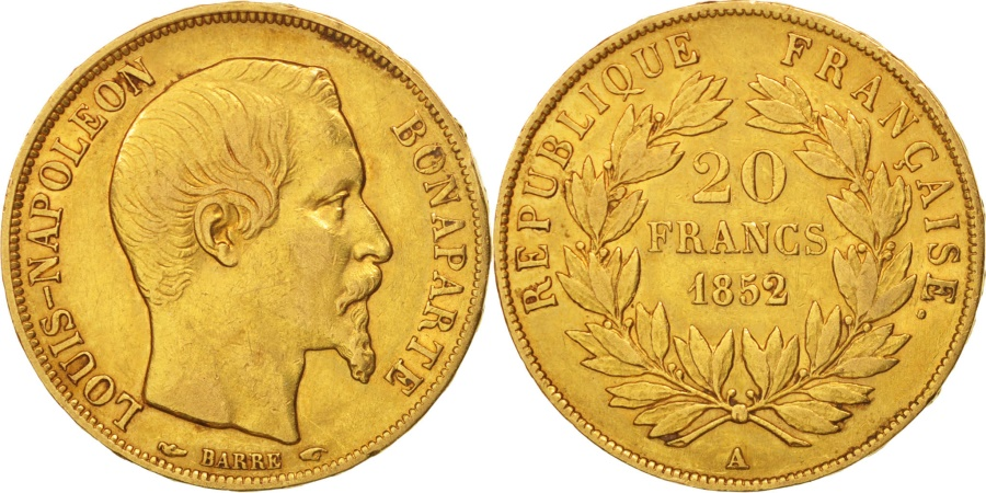 World Coins - France, 20 Francs, 1852, Paris, , Gold, KM:774, Gadoury:1060