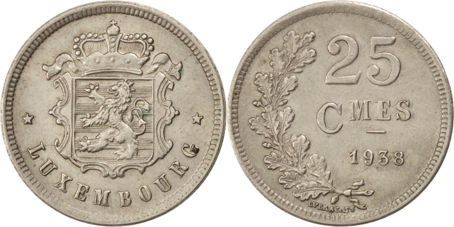 World Coins - LUXEMBOURG, 25 Centimes, 1938, KM #42a.1, , Copper-Nickel, 25, 5.48