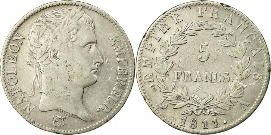 World Coins - Coin, France, Napoléon I, 5 Francs, 1811, Paris, , Silver, KM:694.1