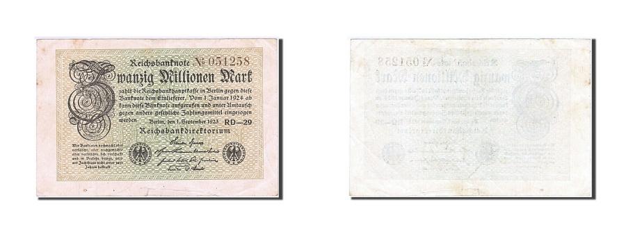 World Coins - Germany, 20 Millionen Mark, 1923, KM #108b, AU(50-53), 051258