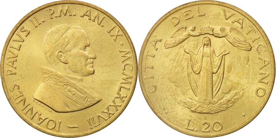 World Coins - VATICAN CITY, John Paul II, 20 Lire, 1987, Roma, , Aluminum-Bronze