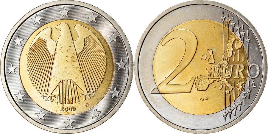 World Coins - GERMANY - FEDERAL REPUBLIC, 2 Euro, 2005, , Bi-Metallic, KM:214