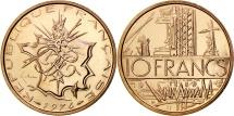 France, Mathieu, 10 Francs, 1974, Paris, MS(65-70), Nickel-brass, KM:940