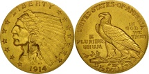 Us Coins - United States, Indian Head, $2.50, 1914, Philadelphia, AU(50-53), Gold, KM:128