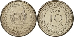 World Coins - Surinam, 10 Cents, 1989, , Nickel plated steel, KM:13a