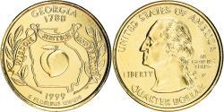 Us Coins - Coin, United States, Georgia, Quarter, 1999, U.S. Mint, Philadelphia, golden