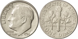 Us Coins - UNITED STATES, Roosevelt Dime, Dime, 1974, U.S. Mint, KM #195a, ,...