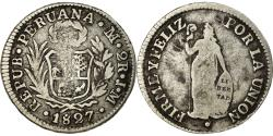 World Coins - Coin, Peru, 2 Reales, 1827, Lima, , Silver, KM:141.1