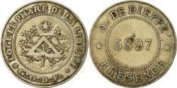 World Coins - France, Token, Masonic, Orient de Dieppe, Loge Le Phare de la Liberté, 1897