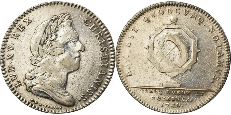 World Coins - France, Token, Louis XV, Notaires Royaux de Paris, 1720, R.Filius,