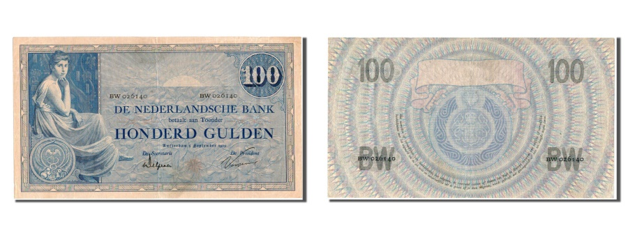 World Coins - Netherlands, 100 Gulden, 1929, KM #39d, EF(40-45), BW