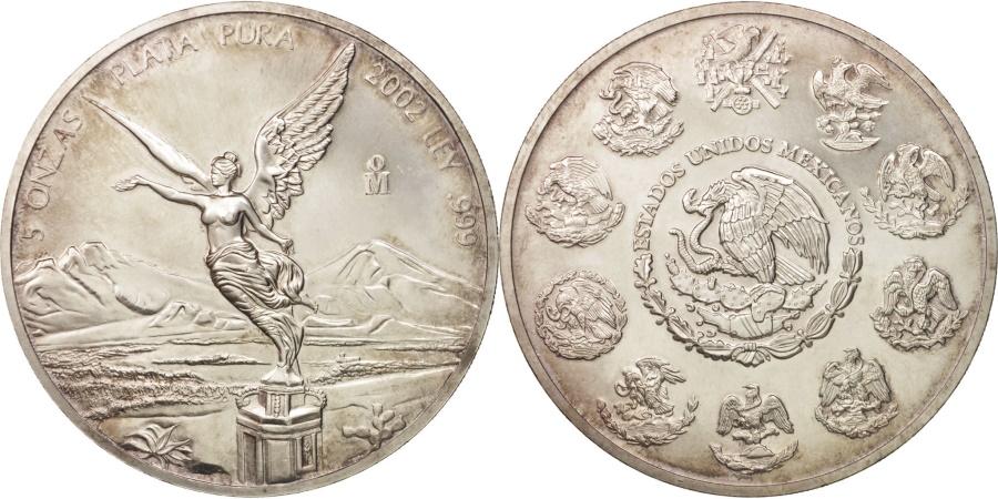 World Coins - Mexico, 5 Onzas, 5 Troy Ounces of Silver, 2002, Mexico City, , Silver
