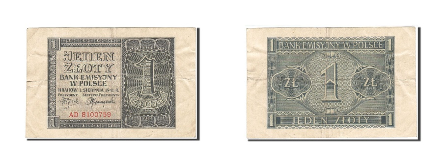 World Coins - Poland, 1 Zloty, 1941, 1941-08-01, KM:99, VF(20-25)