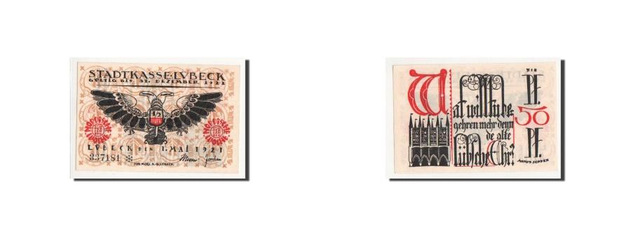 World Coins - Germany, Lübeck, 50 Pfennig, Eglise 1, 1921, 1921-05-01, UNC(65-70), Mehl:831.3