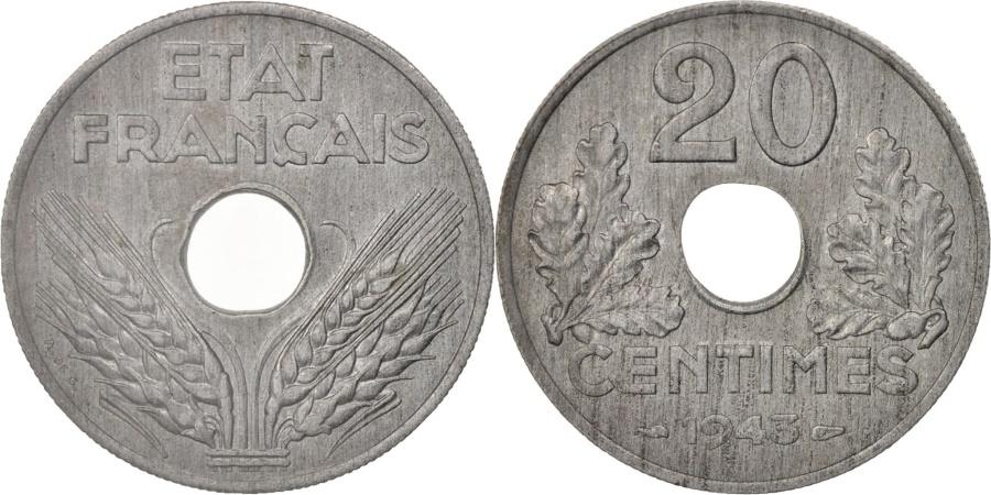 World Coins - France, État français, 20 Centimes, 1943, Paris, , Zinc, KM:900.1