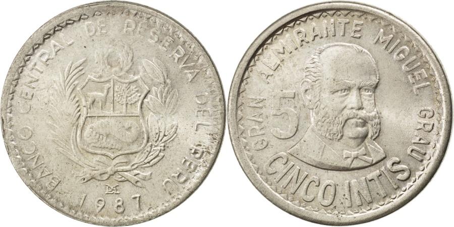 World Coins - PERU, 5 Intis, 1987, Lima, KM #300, , Copper-Nickel, 27, 8.01
