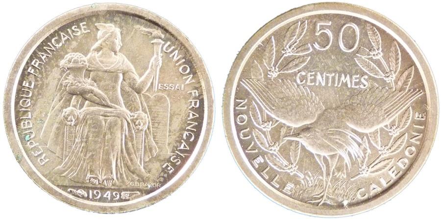 World Coins - NEW CALEDONIA, 50 Centimes, 1949, Paris, KM #E7, , Copper-Nickel,...