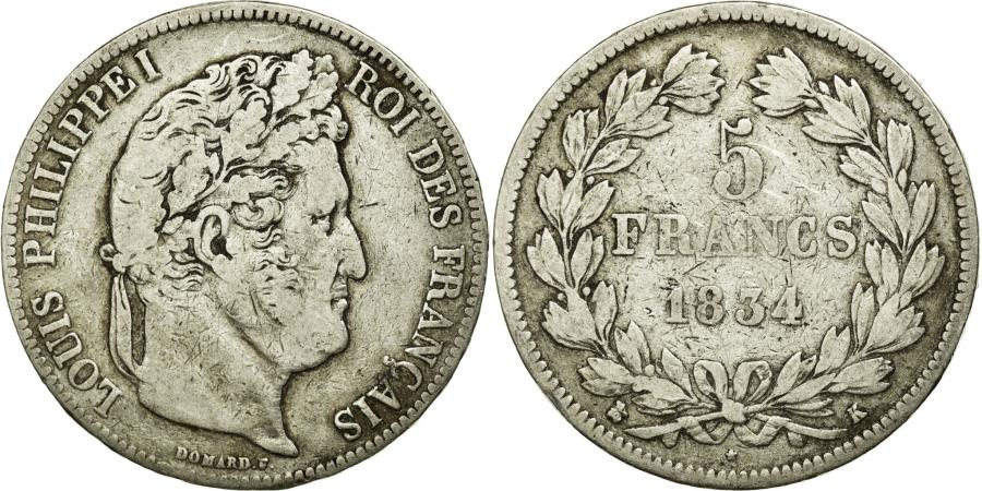 World Coins - Coin, France, Louis-Philippe, 5 Francs, 1834, Bordeaux, VF(30-35), Silver