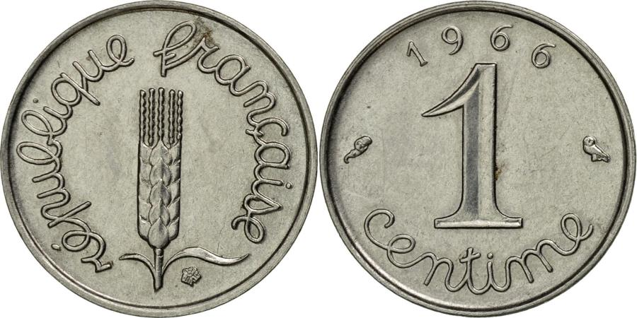 grain sprig France 1966-1 Centime Stainless Steel Coin