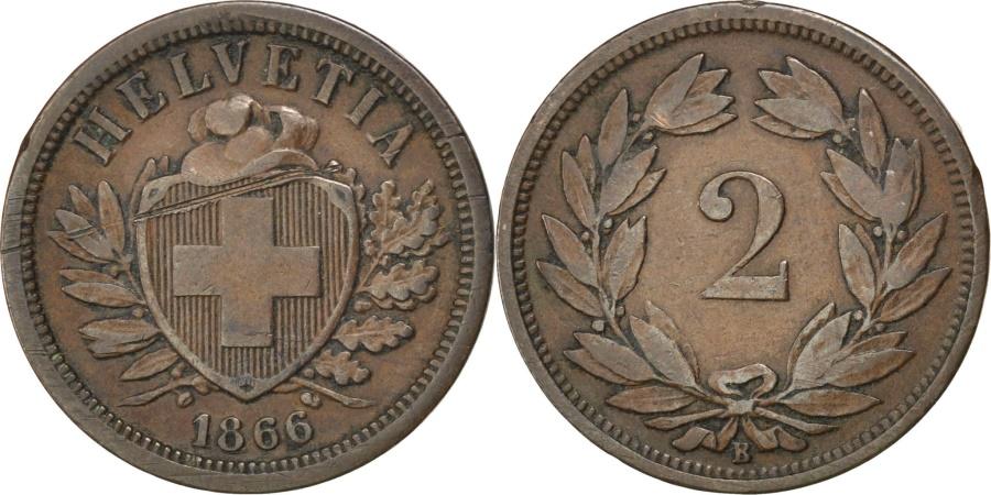 World Coins - SWITZERLAND, 2 Rappen, 1866, Bern, KM #4.1, , Bronze, 20, 2.56