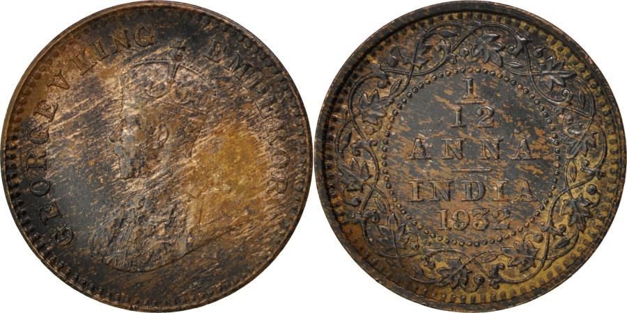 World Coins - INDIA-BRITISH, 1/12 Anna, 1 Pie, 1932, KM #509, , Bronze, 17.4, 1.60
