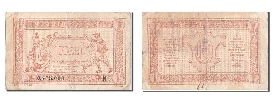 World Coins - France, 1 Franc, 1917-1919 Army Treasury, KM #M5, VF(30-35), 0.465.008, Fayette.