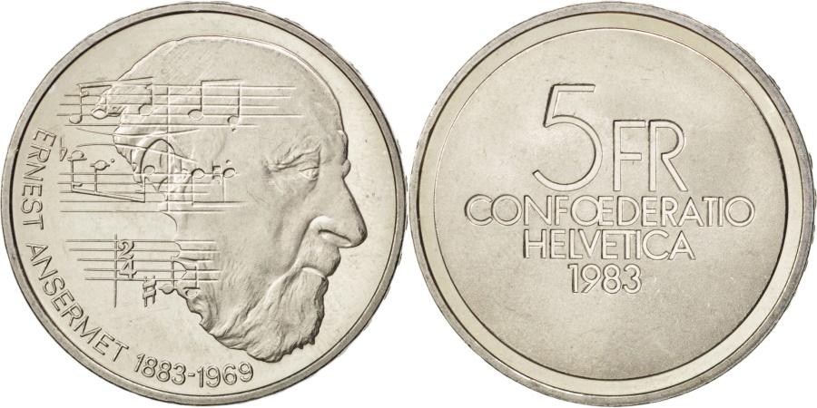 World Coins - SWITZERLAND, 5 Francs, 1983, KM #62, , Copper-Nickel, 31.45, 13.26