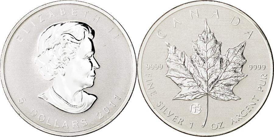 World Coins - Canada, Elizabeth II, 5 Dollars, 2011, Royal Canadian Mint, MS(65-70), Silver