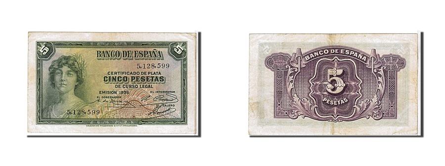 World Coins - Spain, 5 Pesetas, 1935, KM #85a, UNC(60-62), 5128599