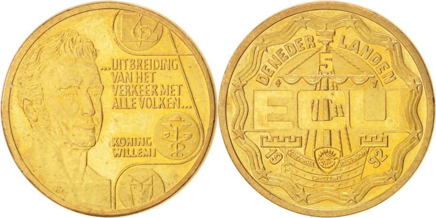 World Coins - NETHERLANDS, 5 ECU, 1992, Utrecht, KM #48, , Brass, 23, 6.92