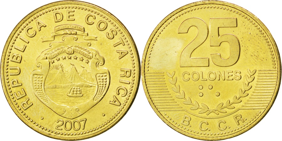 World Coins - COSTA RICA, 25 Colones, 2007, KM #229, , Brass Plated Steel, 25.5, 6.97