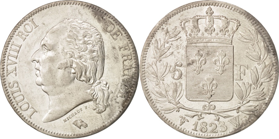 World Coins - France, Louis XVIII, 5 Francs, 1823, Lille, Silver, KM:711.13