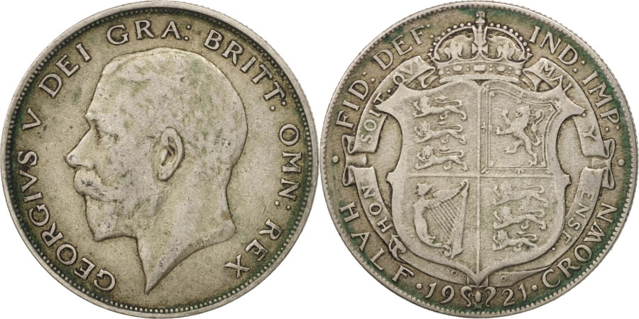 World Coins - Great Britain, George V, 1/2 Crown, 1921, , Silver, KM:818.1a