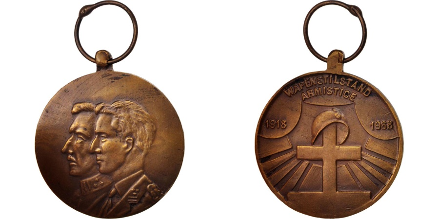 World Coins - Belgium, 1918 50th anniversary, Medal, 1968, Very Good Quality, Bronze, 35.8