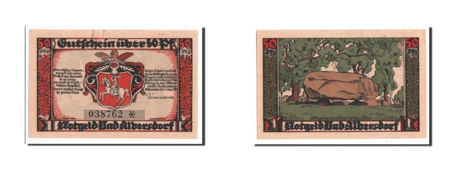 World Coins - Germany, Albersdorf Bad Gemeinde, 50 Pfennig, 1922, AU(55-58), 038762, Mehl #9.1