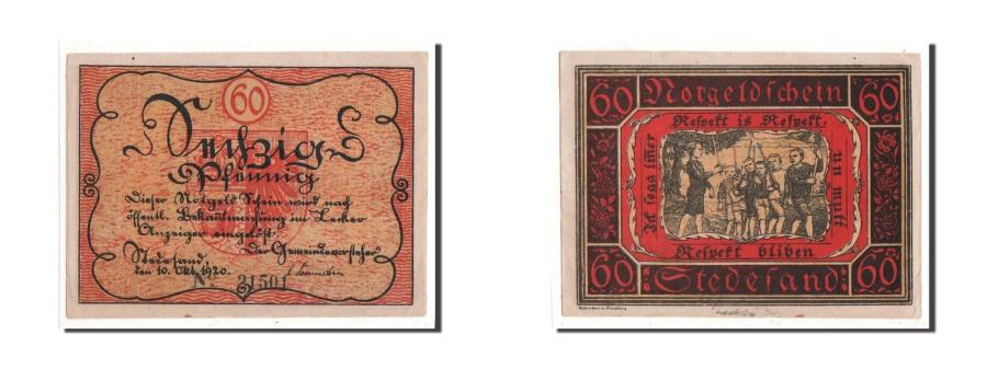 World Coins - Germany Stedesand Gemeinde 60 Pfennig 1920 1920-10-10 UNC(65-70) 21501 Mehl:...