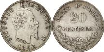 Italy, Vittorio Emanuele II, 20 Centesimi, 1863, Milan, EF(40-45), Silver