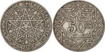 World Coins - Morocco, Yusuf, 50 Centimes, 1921, bi-Bariz, Paris, EF(40-45), Nickel, KM:35.1