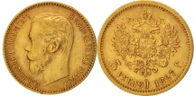 World Coins - Russia, Nicholas II, 5 Roubles, 1897, St. Petersburg, Gold, KM:62
