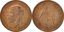 Great Britain, George V, 1/2 Penny, 1926, AU(50-53), Bronze, KM:824