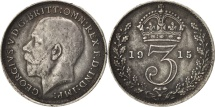 Great Britain, George V, 3 Pence, 1915, EF(40-45), Silver, KM:813