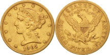 Us Coins - United States, Coronet Head, $5,1905, San Francisco,EF(40-45),KM 101