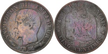 World Coins - France, Napoleon III, 5 Centimes, 1854, Lyon, F(12-15), Bronze, KM 777.4