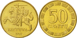 World Coins - LITHUANIA, 50 Centu, 1997, KM #108, , Nickel-Brass, 23, 6.06