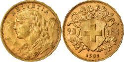 Coin, Switzerland, 20 Francs, 1901, Bern, , Gold, KM:35.1