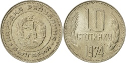 World Coins - BULGARIA, 10 Stotinki, 1974, KM #87, , Nickel-Brass, 16, 1.66